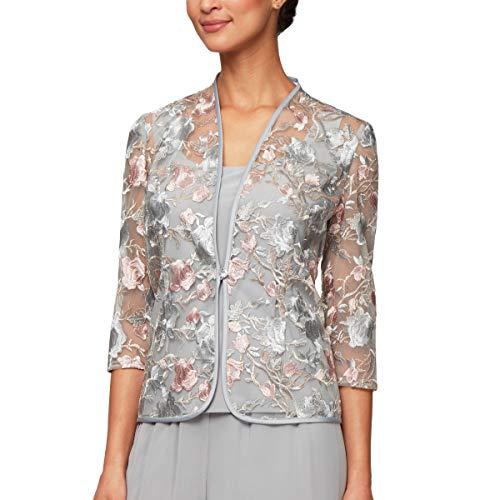 (Alex Evenings Women's Printed Twinset with Tank Top and Jacket, Dove Petite XLP)