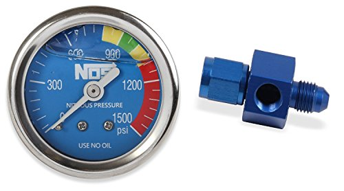 (NOS/Nitrous Oxide System 15936NOS Nitrous Pressure Gauge 1.5 in. Dia. Royal Blue Dial Face w/White Needle 0-1500 psi Glycerin Filled w/-4AN Adapter Nitrous Pressure Gauge)