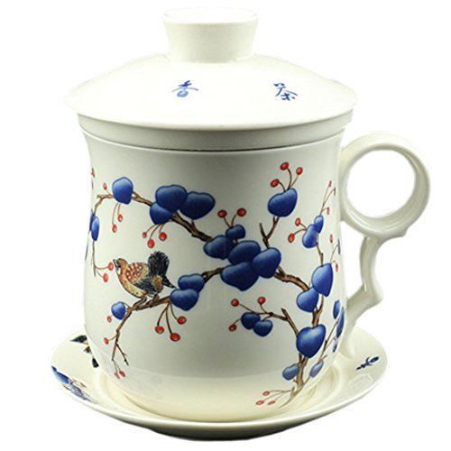BandTie Convenient Travel Office Loose Leaf Tea Brewing System Teacup-Chinese Jingdezhen Blue and White Porcelain Tea Cup Infuser 4-Piece Set with Tea Cup Lid and Saucer ,Cherry and Bird