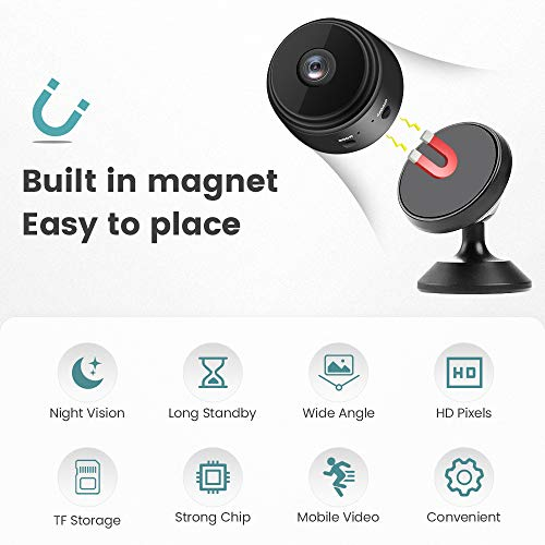 Spy Camera, Full 1080P HD Hidden Camera, Surveillance Mini Camera with Night Vision, 150 Degree Wide Angle Wireless Camera for Home Security, Outdoor Outdoor Portable Use