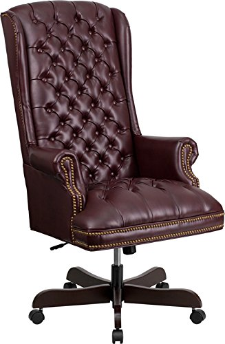 StarSun Depot High Back Traditional Fully Tufted Burgundy Leather Executive Swivel Chair with Arms 26.5