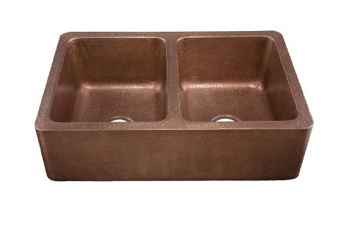 Thompson Traders KDA-3322AH Corniglia Farmhouse Double Bowl Copper Kitchen Sink and Drains Antique
