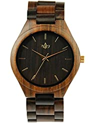 Woody Watch Black Sandalwood Mens Fashion Wristwatch with Wood Bracelet and Japanese Quartz Movement