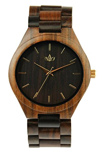 Woody Watch Black Sandalwood Men's Fashion Wristwatch with Wood Bracelet and Japanese Quartz Movement