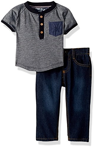 English Laundry Baby Boys Raglan Pocket Henley with Light Sand Blast Denim Jean, Blue ()