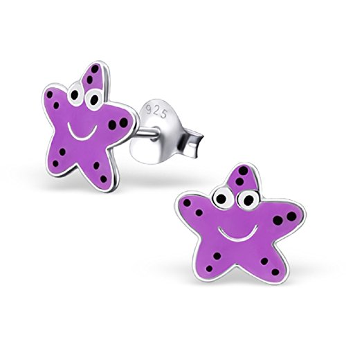Laimons - Boucles d'oreille étoile de mer - enfant - argent sterling 925 - violet