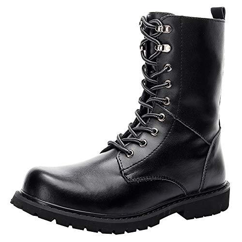 Jamron Unisex Women Men Mid-Calf Split Leather Boots Flat Non-Slip Combat Boots Chukka Boots Big Size - stylishcombatboots.com