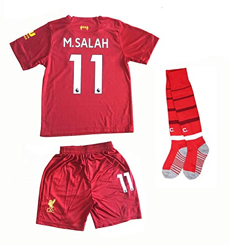 Old Football Jersey - HZIJUE 2019-2020 Liverpool 11 M. Salah Kids Youths Soccer Home Jersey Shorts Size 22 7-8 Years Old Red