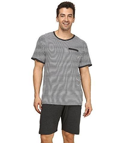 Suntasty Men's Summer Sleepwear Striped Short Sleeve Pajama Shorts and