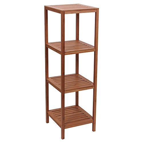 Household Essentials Bamboo 4-Shelf Slatted Cube Tower