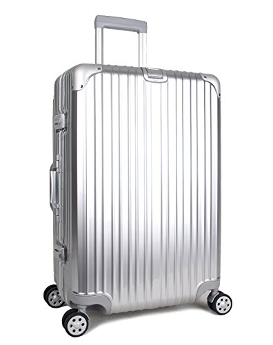 Newest Trolley Luggage Lightweight Business Travel Carry on TSA Lock Hardshell Suitcase ABS+PC Aluminum Frame (Silver, 22