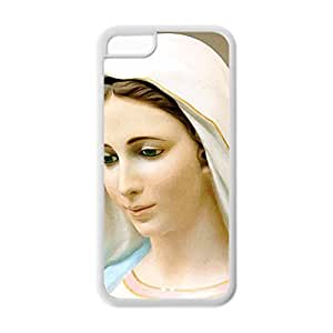 Back Soft TPU Case Custom DIY Virgin Mary Christian and Child Baby Jesus Protective Soft TPU Case for iPhone 5C (White 020301)