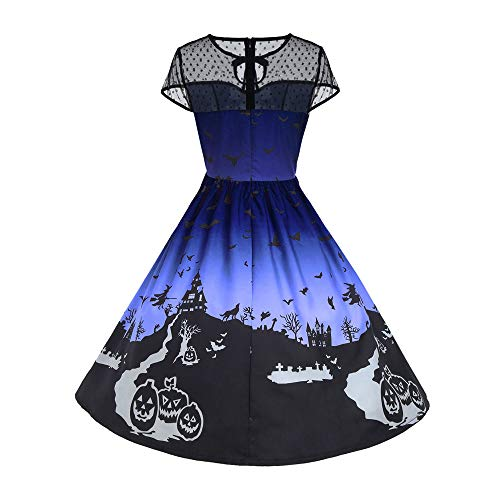 iLOOSKR Halloween Women's O-Neck Mesh Patchwork Printed Vintage Gown Sleeveless Loose Party Dress Blue]()