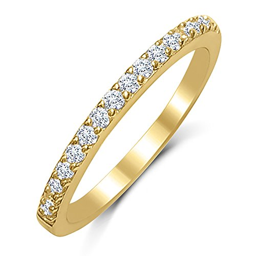 DTLA Ladies Thin Band .925 Gold Plated Sterling Silver Micro Pave Cubic Zirconia (6)