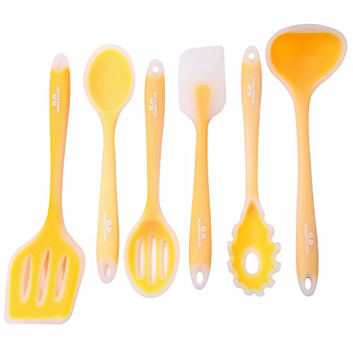 Ga Homefavor 6 Piece Silicone Kitchen Utensils Set Of 6