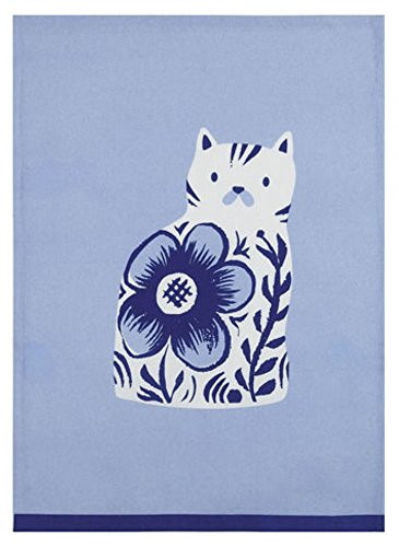 Sarah Watts Blue Floral Cat Delftware Print Designer Kitchen Dish Tea Towel Dishcloth