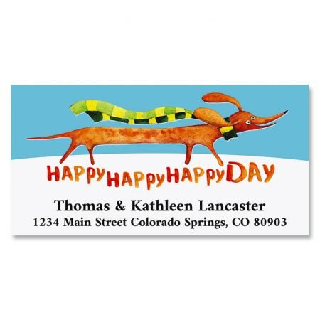 A Very Happy Day Personalized Return Address Labels- Set of 144, Large Self-Adhesive, Flat-Sheet Labels, By Colorful Images (Dog Personalized Address Labels)