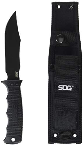 "SOG Tactical Knife with Sheath - ""SEAL Pup"" M37N-CP Fixed Blade Knife with 4.75"" Tactical Knife Blade and MOLLE Belt Knife Sheath + Survival Knife GRN Grip"