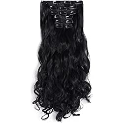 "OneDor 20"" Curly Full Head Clip in Synthetic Hair Extensions 7pcs 140g (1B-Off Black)"