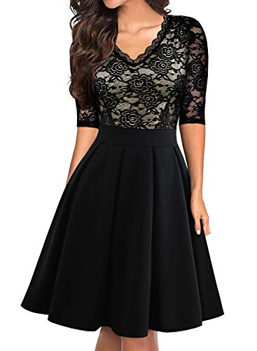 BOKALY Women's Classy Wedding Party Bridesmaid Dress Retro Floral Lace Half Sleeve Fit and Flare Prom Swing Cocktail Party Dress (L, BK518-Black) from BOKALY