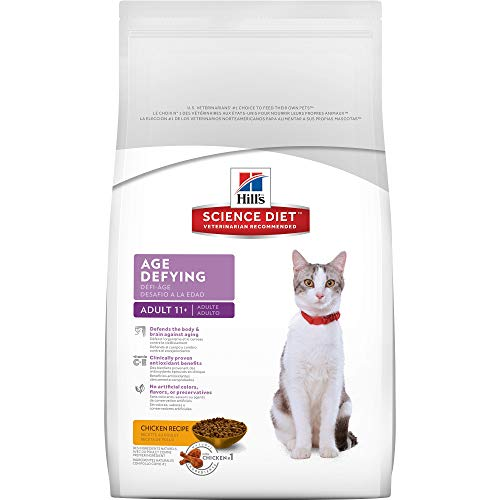 HillS Science Diet Senior Dry Cat Food, Adult 11+ Age Defying Chicken Recipe Pet Food, 3.5 Lb Bag