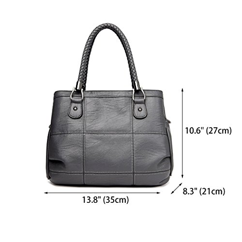 Body Handbags Top Women's Bags Grey Cross Leather Bags Faux Shoulder Handle Bags 4AqUqZwT