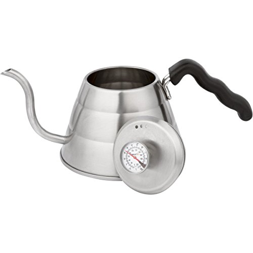 Brulux 1-Litre Stainless Steel Pour Over Coffee Kettle with Built In Thermometer and Gooseneck Spout (Best Budget Meat Thermometer)