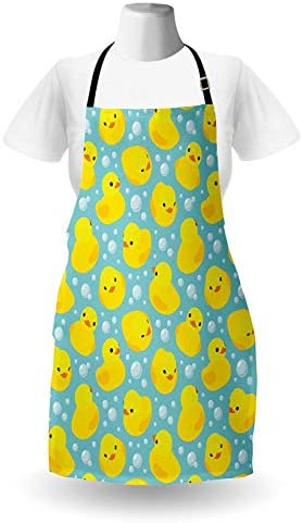 WELQUN Grembiule Aprons Grembiule della Scuola Materna Happy Duck And Bubbles Cartoon Pattern Childhood Kids Theme Art Men Kids Cooking Baking Kitchen Bib