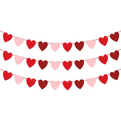 (Felt Heart Garland Banner - NO DIY - Valentines day Banner Decor - Valentines Decorations - Anniversary, Wedding, Birthday Party Decorations - Red, Rose Red and Light Pink Color, for)