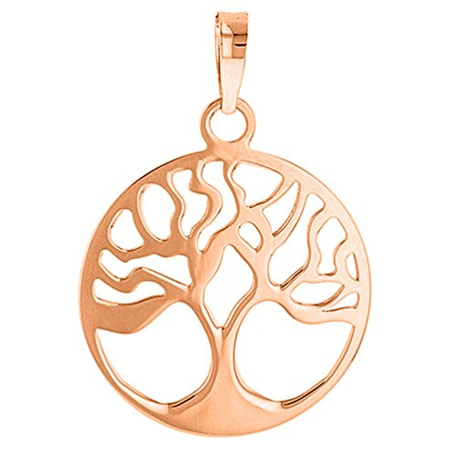 (Solid 14k Rose Gold Simple Round Tree of Life Charm Pendant)