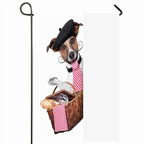 Ahawoso Seasonal Garden Flag 12x18 Inches Delicious Red Baguette French Dog Picnic Basket Behind Placard Food Drink Beret Beverage Design Home Decorative Outdoor Double Sided House Yard Sign