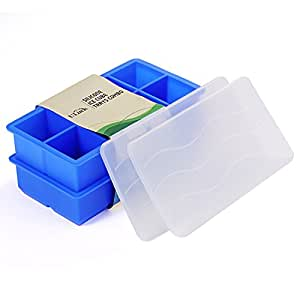 Ice Cube Trays, ULuck Silicone Large Ice Cube Trays with 2 Lids (2 Pack) - 8 Molds X 2 inch Big Ice Cubes Molds Stackable for Whiskey Cocktail and Any Drink - Keep Your Drink Cold For Longer - (Blue)