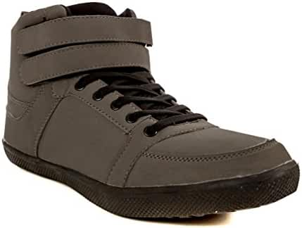 CoXist Mens High Top Double Velcro Strap Hi Top Sneaker Shoes