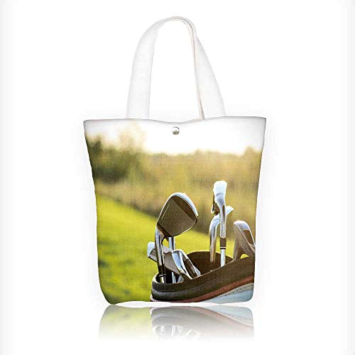 Canvas Tote Handbag golf clubs drivers over green field background summer sunset Shoulder Bag Purses For Men And Women Shopping Tote W16.5xH14xD7 INCH