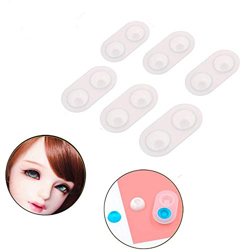 Pack of 6 DIY Doll Eyes Silicone Molds,