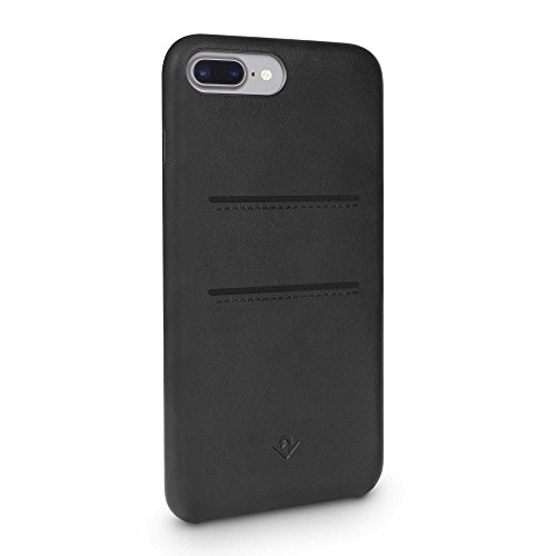 Twelve South Relaxed Leather Case for iPhone 8 Plus/ 7 Plus/ 6 Plus | Hand Burnished Leather Wallet Shell (black)