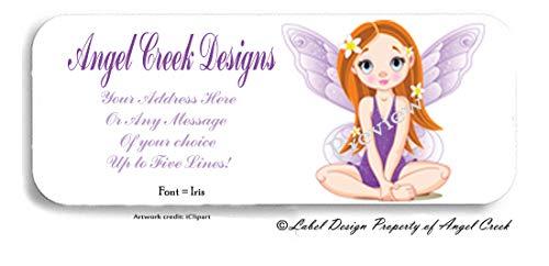 60 Purple Fairy Princess Angel Wings Stars Personalized Return Address ()