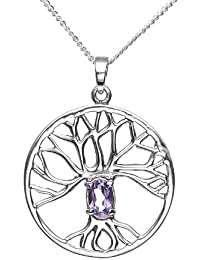 """<span class=""""a-offscreen"""">[Sponsored]</span>925 Sterling Silver Purple Amethyst Trinity Tree Of Life Round Pendant Necklace, 18 inches"""