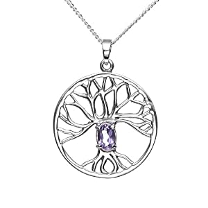 925 Sterling Silver Purple Amethyst Trinity Tree Of Life Round Pendant Necklace, 18 inches