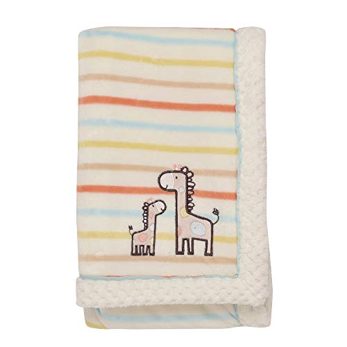 - Little Me Giraffe Embroidered Applique Baby Blanket with Woven Piping