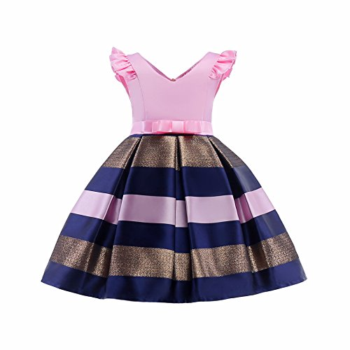 AIMJCHLD Teenage Girls Formal Dress Christmas Easter Striped Party Birthday Pageant Flower Girl Dresses Size 9T 10T (Pink, 160)