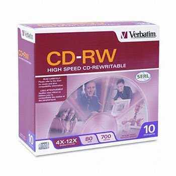 700MB High-Speed Branded CD-RW Media with Slim Case - Pack of 10