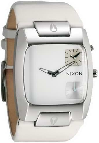 Nixon Banks Leather Watch One Size White Dial White Strap