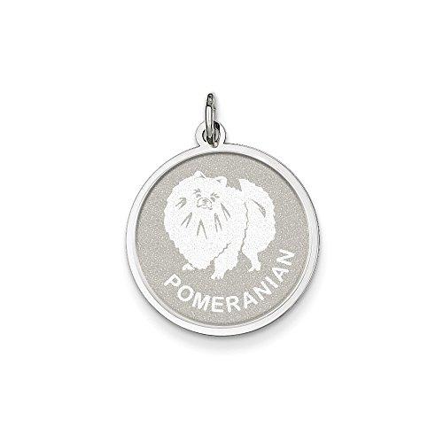 Sterling Silver Pomeranian - Mireval Sterling Silver Pomeranian Disc Charm (26 x 19mm)