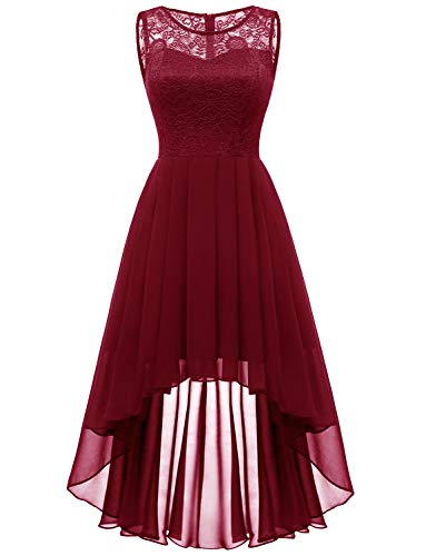 Dressystar 0038 Floral Lace Hi-Lo Bridesmaid Dress Formal Wedding Maxi Dress L Dark Red