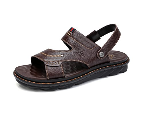 Camel Apparel - Camel Men's Summer Cowhid Leather Fisherman Athletic Outdoor Hiking Slip-on Beach Strap Genuine Comfort Open Toe Sandal