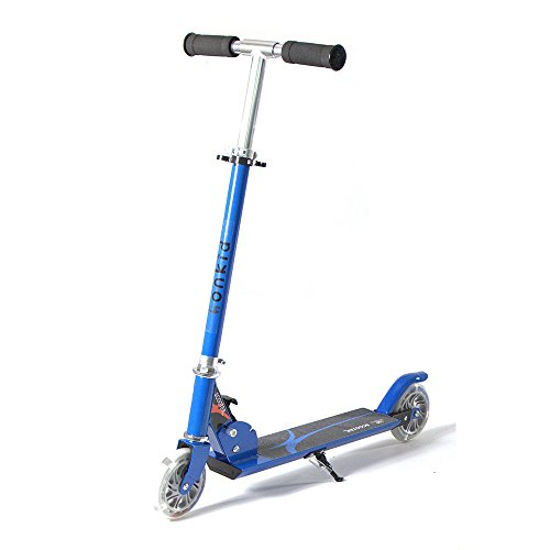 Honkid ChildrenScooterFoldingKidsKickScooterGiftsToddler2WheelAdjustableHeightScooterwithLEDLightUpWheels, Blue