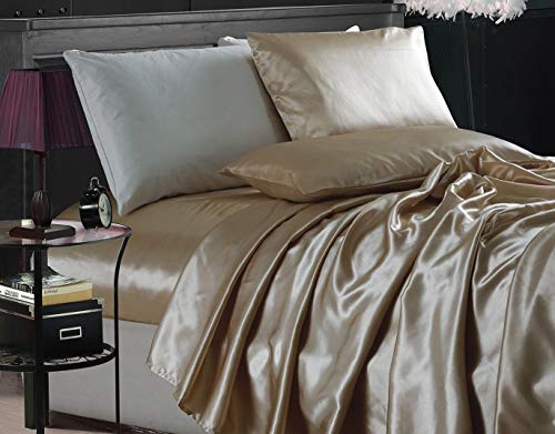UN brand Collection 4-Piece Bridal Satin Solid Color Sheet Set Color Champagne Size King