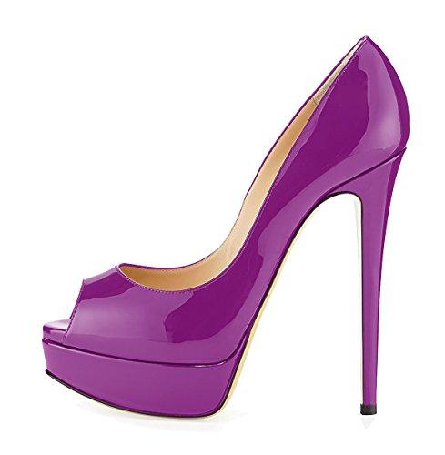Plateforme Chaussures Grande Femme Escarpins Peep Taille Violet Sandales Ubeauty Toe Open qXEgw1tSx