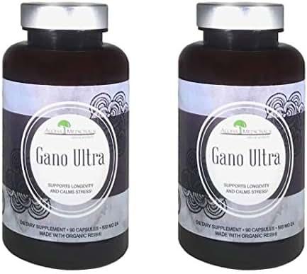 Aloha Medicinals – Gano Ultra - Certified Organic Mushrooms – Red Reishi, Ganoderma Lucidum, Applanatum, Tsugae – Health Supplement – Supports Immune System – Anti-Inflammatory –90 Capsules (2 Pack)